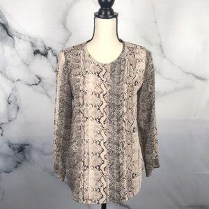 Joie snake print sheer long sleeve blouse